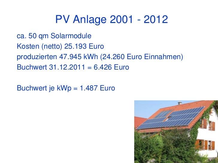 PV Anlage 2001 - 2012ca. 50 qm SolarmoduleKosten (netto) 25.193 Europroduzierten 47.945 kWh (24.260 Euro Einnahmen)Buchwer...