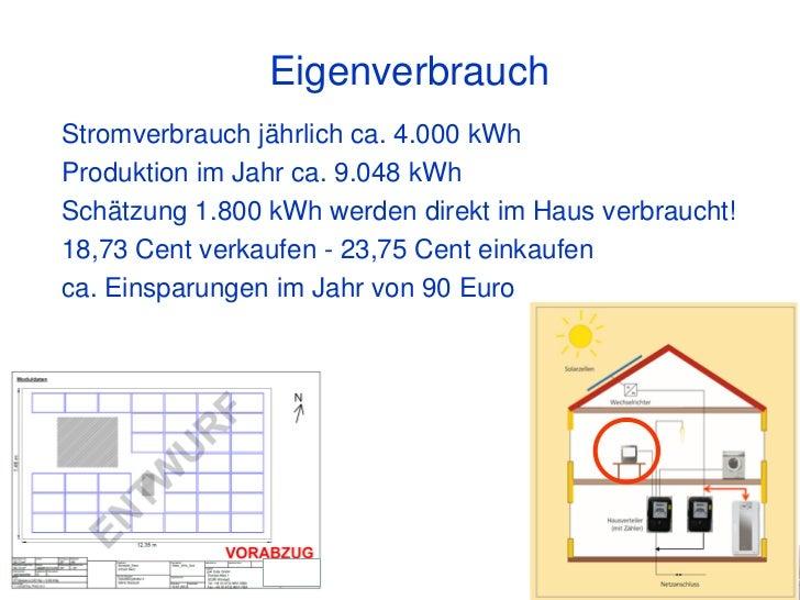 EigenverbrauchStromverbrauch jährlich ca. 4.000 kWhProduktion im Jahr ca. 9.048 kWhSchätzung 1.800 kWh werden direkt im Ha...