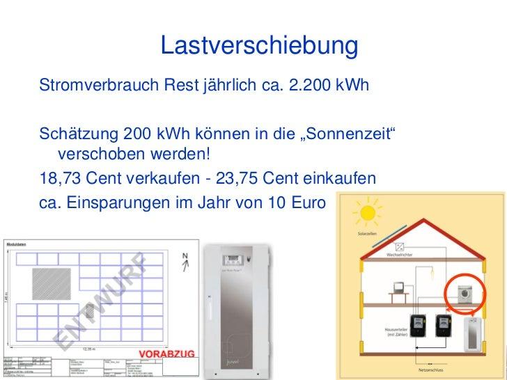 """LastverschiebungStromverbrauch Rest jährlich ca. 2.200 kWhSchätzung 200 kWh können in die """"Sonnenzeit""""  verschoben werden!..."""
