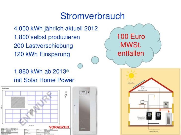 Stromverbrauch4.000 kWh jährlich aktuell 20121.800 selbst produzieren          100 Euro200 Lastverschiebung               ...