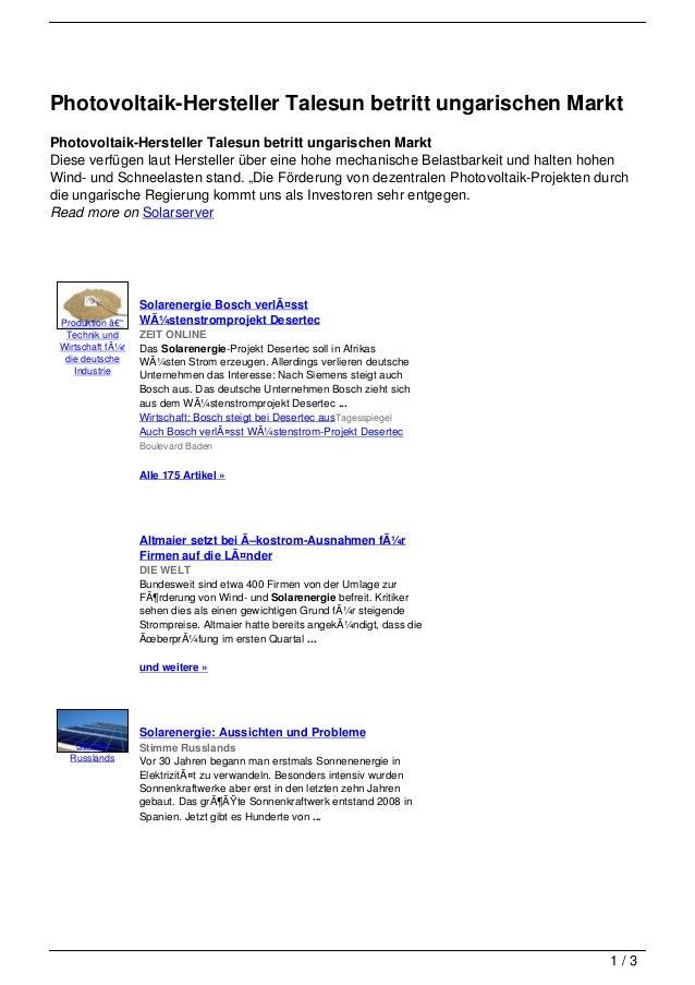 Photovoltaik-Hersteller Talesun betritt ungarischen MarktPhotovoltaik-Hersteller Talesun betritt ungarischen MarktDiese ve...