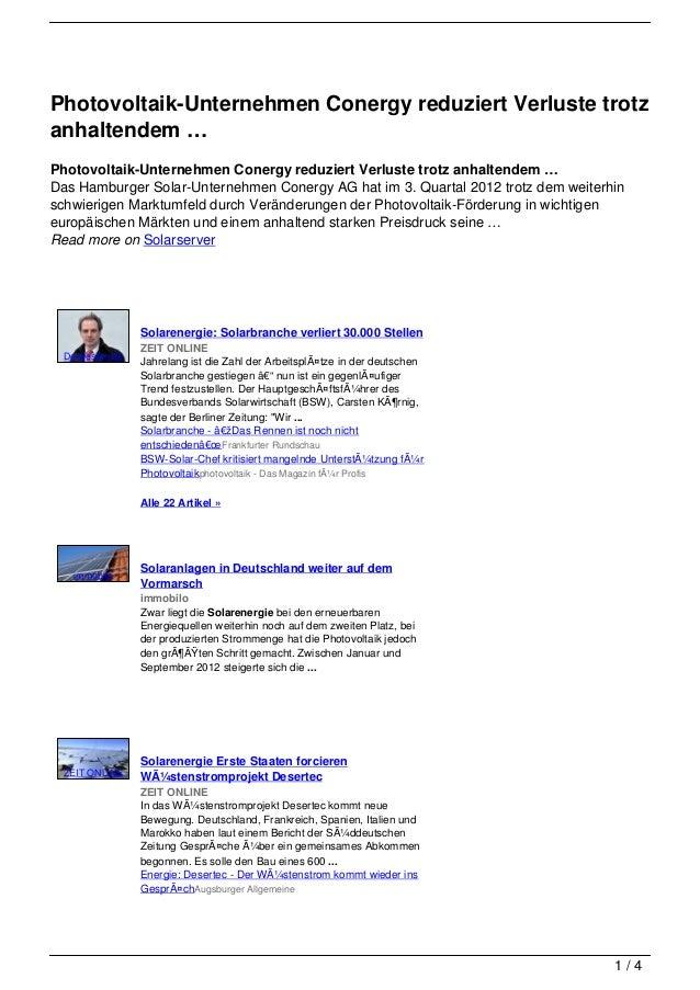 Photovoltaik-Unternehmen Conergy reduziert Verluste trotzanhaltendem …Photovoltaik-Unternehmen Conergy reduziert Verluste ...