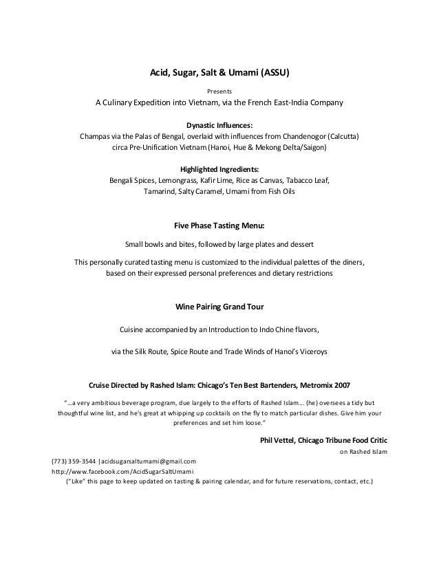 Acid, Sugar, Salt & Umami (ASSU)                                                      Presents               A Culinary Ex...