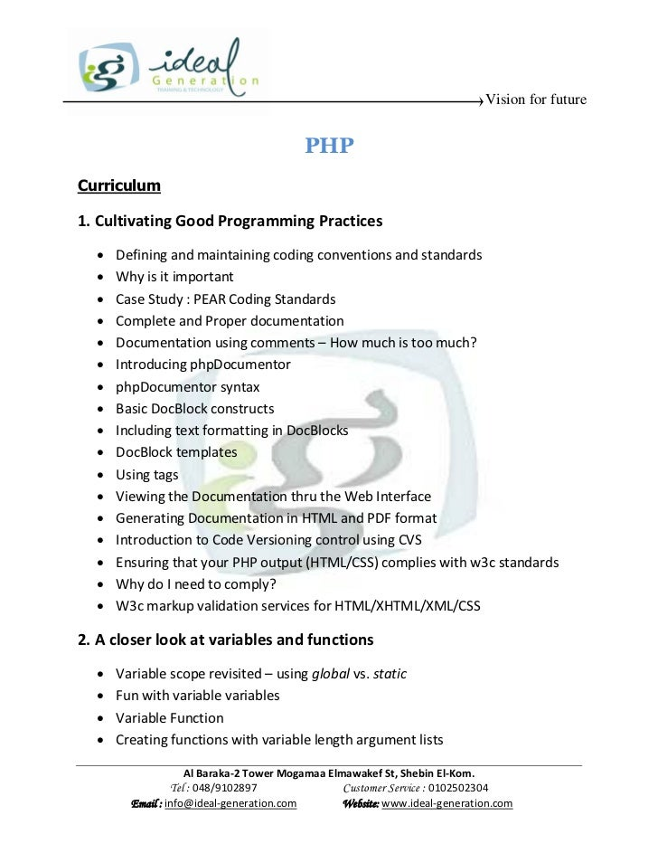 Vision for future                                         PHPCurriculum1. Cultivating Good Programming Practices     Defi...