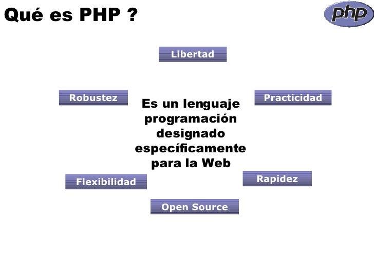 Qué es PHP ? Libertad Robustez Practicidad Rapidez Flexibilidad Open Source Es un lenguaje programación designado específi...