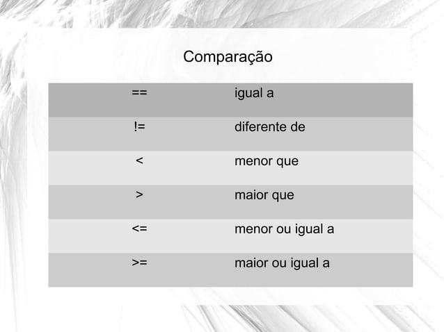 Comparação ==  igual a  !=  diferente de  <  menor que  >  maior que  <=  menor ou igual a  >=  maior ou igual a