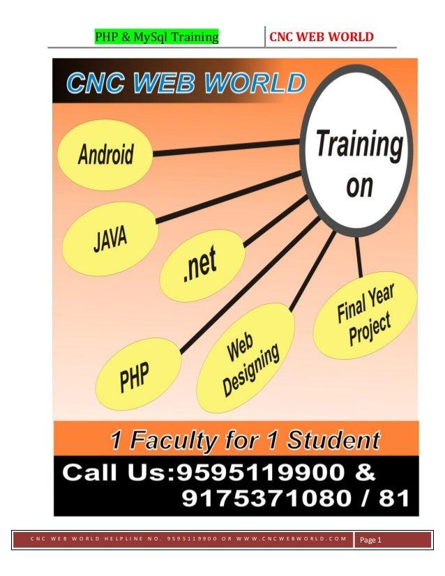 PHP & MySql Training CNC WEB WORLD C N C W E B W O R L D H E L P L I N E N O . 9 5 9 5 1 1 9 9 0 0 O R W W W . C N C W E B...