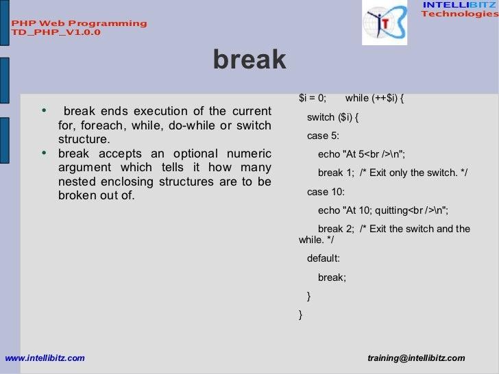 Php foreach break