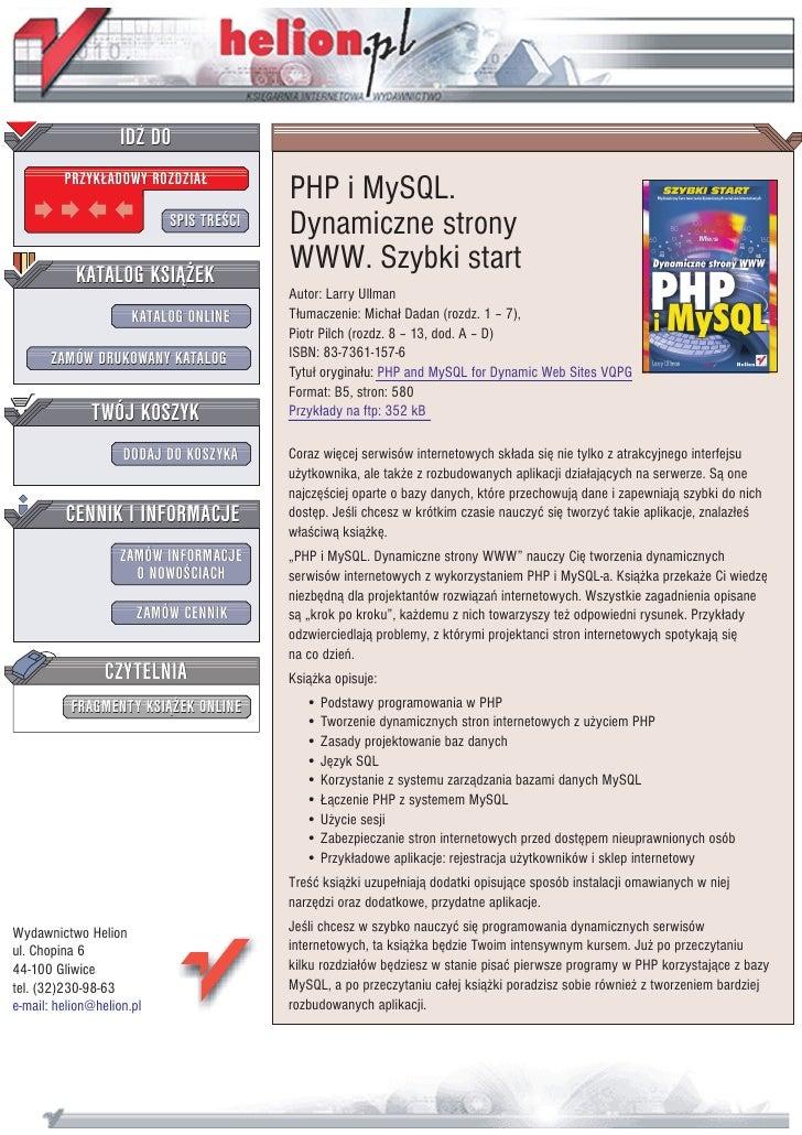 IDZ DO          PRZYK£ADOWY ROZDZIA£                                          PHP i MySQL.                            SPIS...