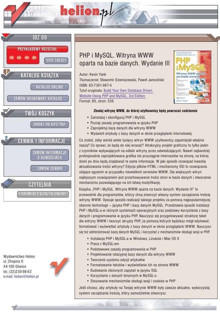 IDZ DO          PRZYK£ADOWY ROZDZIA£                                          PHP i MySQL. Witryna WWW                    ...