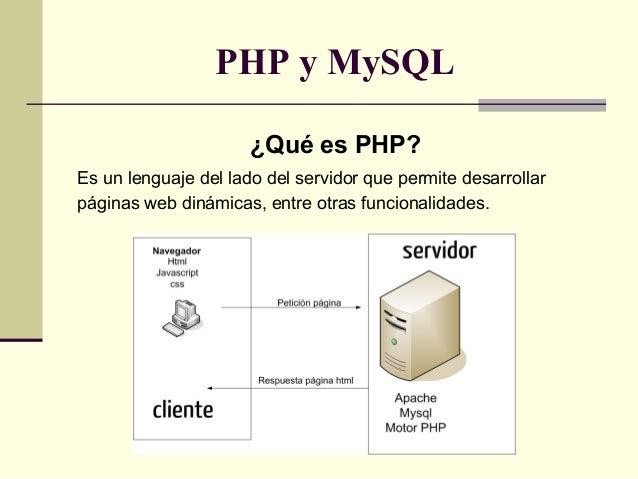 PHP y MySQL                      ¿Qué es PHP?Es un lenguaje del lado del servidor que permite desarrollarpáginas web dinám...