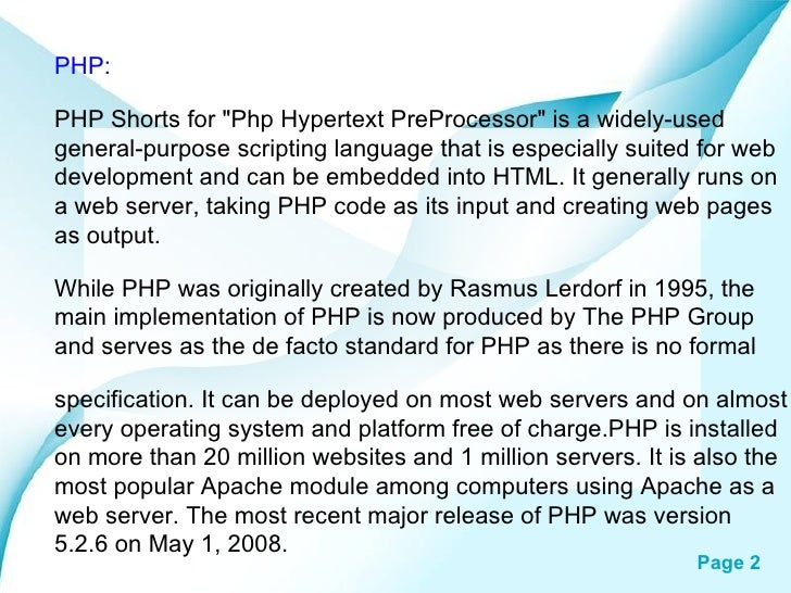 """PHP: PHP Shorts for """"Php Hypertext PreProcessor"""" is a widely-used general-purpose scripting language that is esp..."""