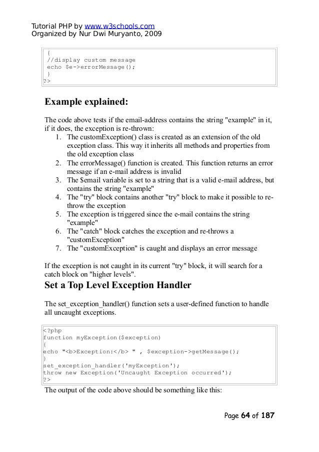 Php tutorial(w3schools)