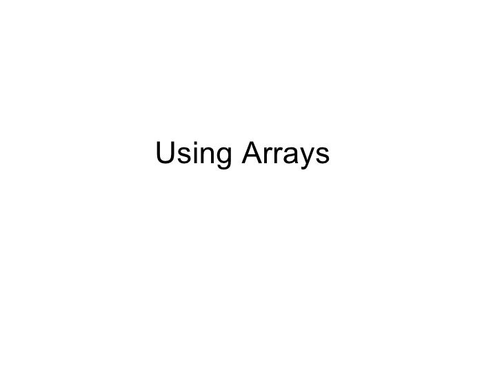 Using Arrays