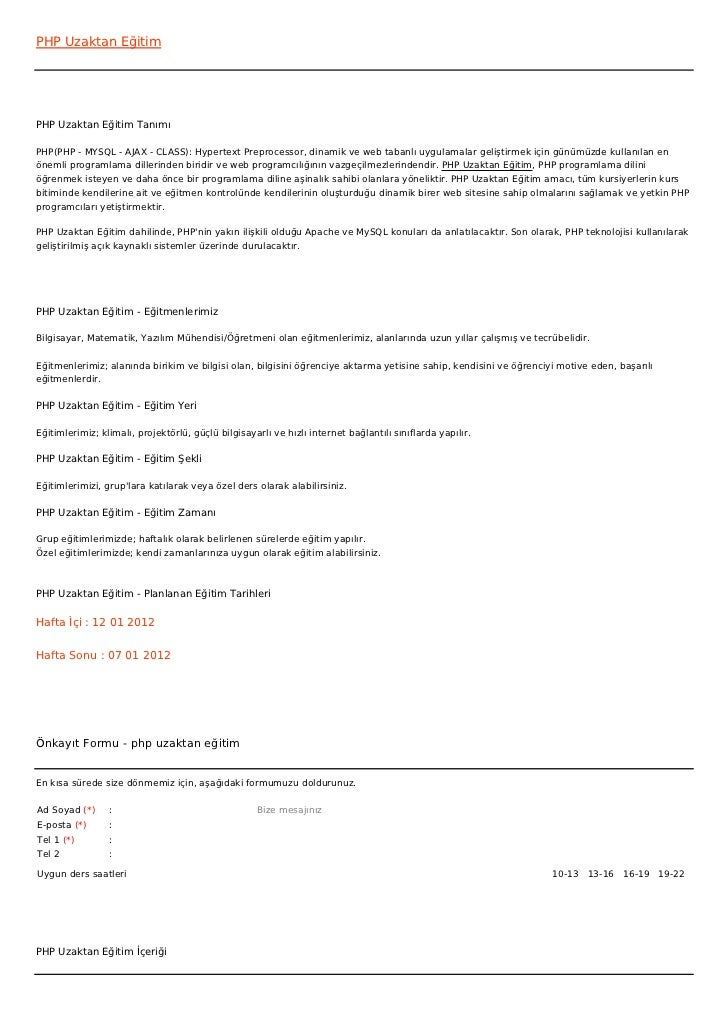 PHP Uzaktan EğitimPHP Uzaktan Eğitim TanımıPHP(PHP - MYSQL - AJAX - CLASS): Hypertext Preprocessor, dinamik ve web tabanlı...