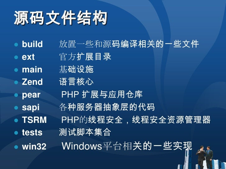 源码文件结构<br />build放置一些和源码编译相关的一些文件<br />ext官方扩展目录<br />main基础设施<br />Zend语言核心<br />pearPHP 扩展与应用仓库<br />sapi各种服务器抽象层的...
