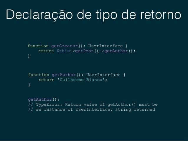 Classes anônimas // Pre PHP 7 class EchoLogger implements LoggerInterface { public function log($message) { echo $message;...