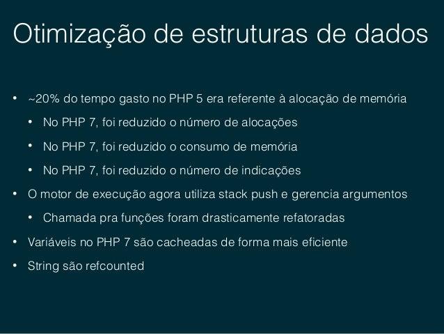 Otimização de estruturas de dados • ZVAL no PHP 5 1 typedef union _zvalue_value { 2 long lval; 3 double dval; 4 struct { 5...