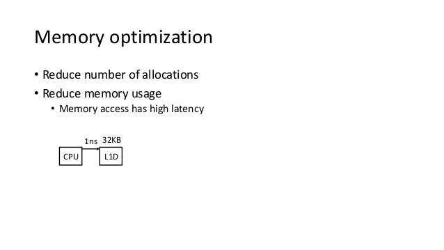 Memory optimization • Reduce number of allocations • Reduce memory usage • Memory access has high latency CPU L1D 1ns 32KB