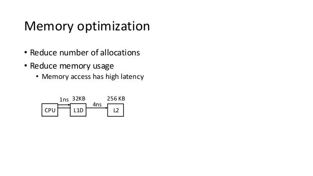Memory optimization • Reduce number of allocations • Reduce memory usage • Memory access has high latency CPU 4ns L2 256 K...