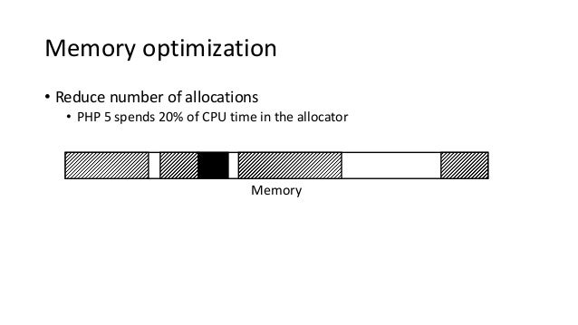Memory optimization • Reduce number of allocations • PHP 5 spends 20% of CPU time in the allocator Memory