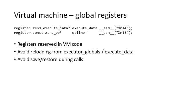 "Virtual machine – global registers register zend_execute_data* execute_data __asm__(""%r14""); register const zend_op* oplin..."