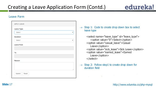 Webinar PHP and MySQL Serverside Scripting Language for Web Devel – Leave Application Form for Employee