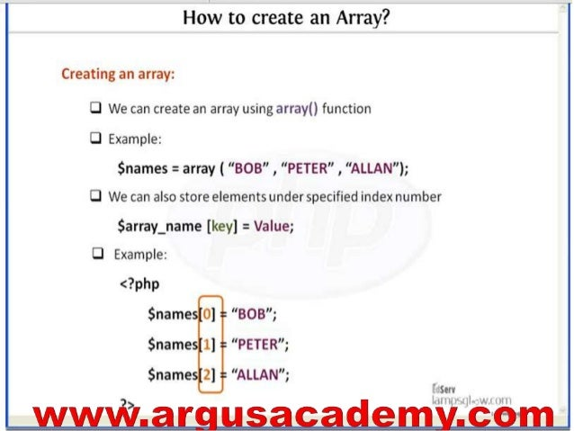how to create array in php