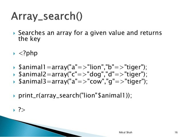 php array with key and value