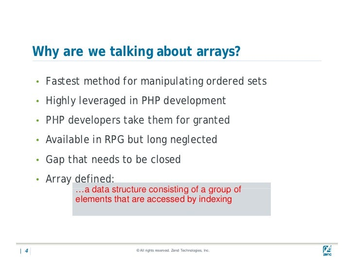 Php arrays for RPG programmers