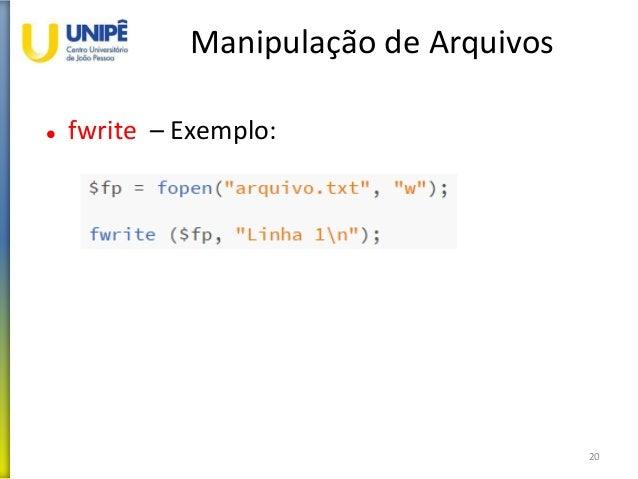 Manipulação de Arquivos  fwrite – Exemplo: 20