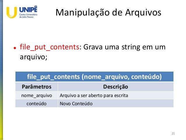 Manipulação de Arquivos  file_put_contents: Grava uma string em um arquivo; 21 file_put_contents (nome_arquivo, conteúdo)...