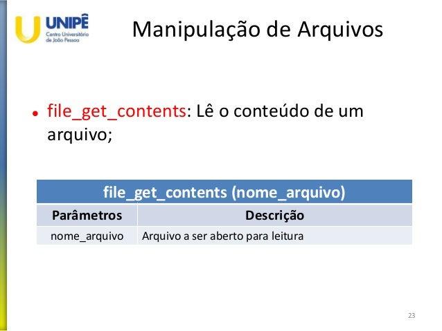 Manipulação de Arquivos  file_get_contents: Lê o conteúdo de um arquivo; 23 file_get_contents (nome_arquivo) Parâmetros D...