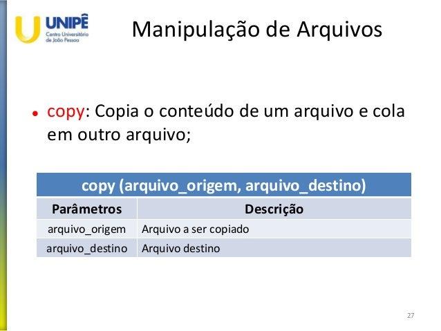 Manipulação de Arquivos  copy: Copia o conteúdo de um arquivo e cola em outro arquivo; 27 copy (arquivo_origem, arquivo_d...