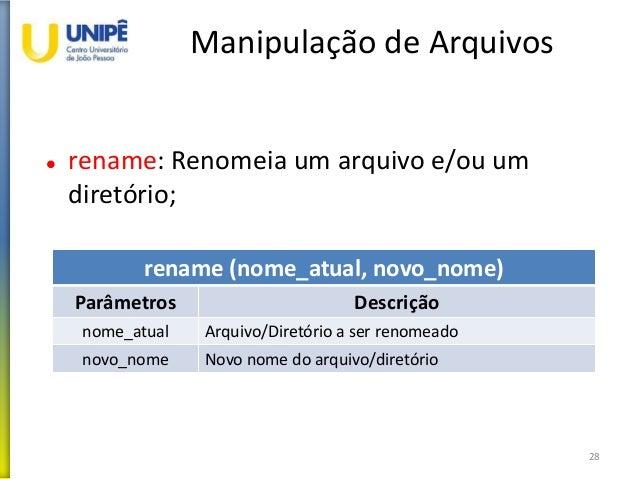 Manipulação de Arquivos  rename: Renomeia um arquivo e/ou um diretório; 28 rename (nome_atual, novo_nome) Parâmetros Desc...