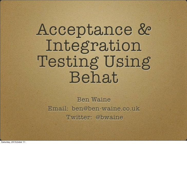 Acceptance &                           Integration                          Testing Using                              Beh...