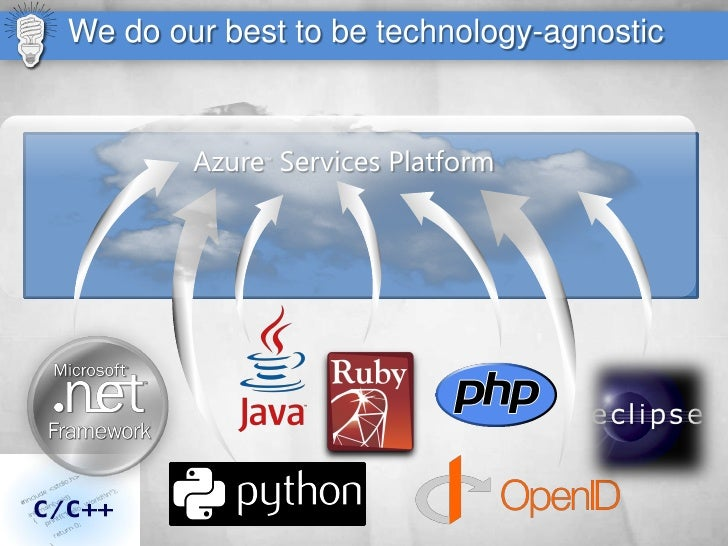 We do our best to be technology-agnostic           Azure Services Platform              ™