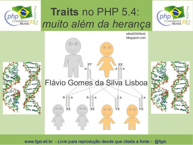 Traits no PHP 5.4:        muito além da herança          Flávio Gomes da Silva Lisboawww.fgsl.eti.br - Livre para reproduç...