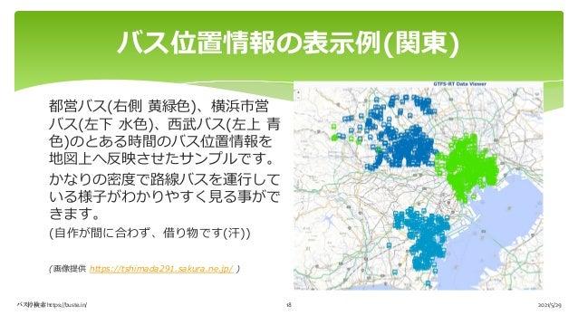 バス位置情報の表⽰例(関東) 2021/5/29 バス停検索 https://buste.in/ 18 都営バス(右側 ⻩緑⾊)、横浜市営 バス(左下 ⽔⾊)、⻄武バス(左上 ⻘ ⾊)のとある時間のバス位置情報を 地図上へ反映させたサンプルです...