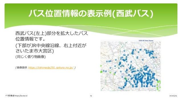 バス位置情報の表⽰例(⻄武バス) 2021/5/29 バス停検索 https://buste.in/ 19 ⻄武バス(左上)部分を拡⼤したバス 位置情報です。 (下部がJR中央線沿線、右上付近が さいたま市⼤宮区) (同じく借り物画像) (画像...