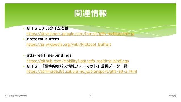 * GTFS リアルタイムとは https://developers.google.com/transit/gtfs-realtime?hl=ja * Protocol Buffers https://ja.wikipedia.org/wiki...