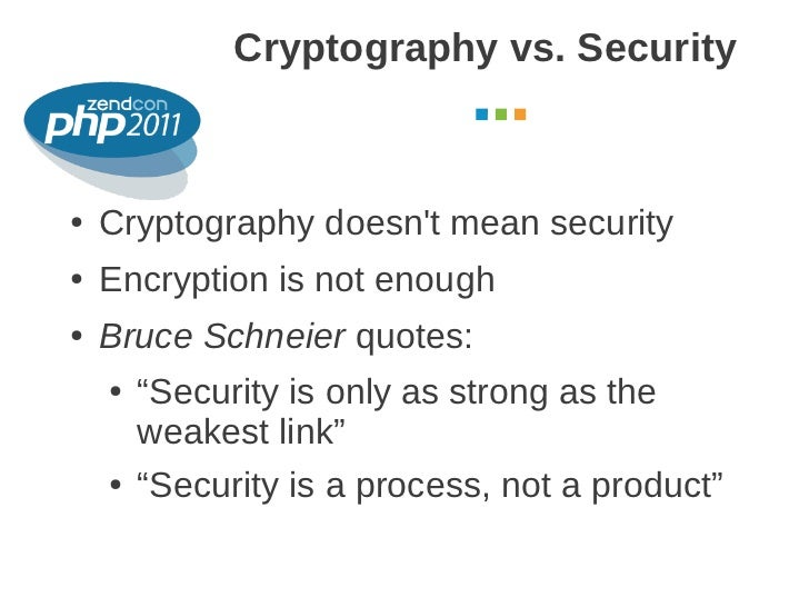 Cryptography vs. Security                                        October 2011●   Cryptography doesnt mean security●   Encr...