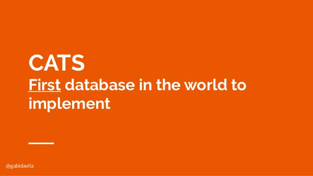 @gabidavila CATS First database in the world to implement