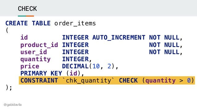 @gabidavila CHECK CREATE TABLE order_items ( id INTEGER AUTO_INCREMENT NOT NULL, product_id INTEGER NOT NULL, user_id INTE...