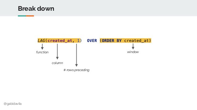 @gabidavila Break down windowfunction column # rows preceding LAG(created_at, 1) OVER (ORDER BY created_at)