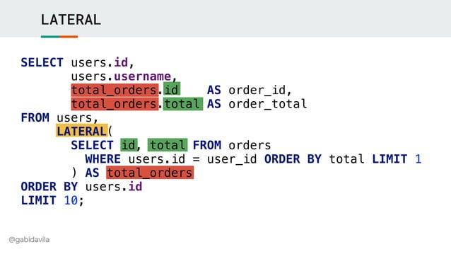 @gabidavila LATERAL SELECT users.id, users.username, total_orders.id AS order_id, total_orders.total AS order_total FROM u...