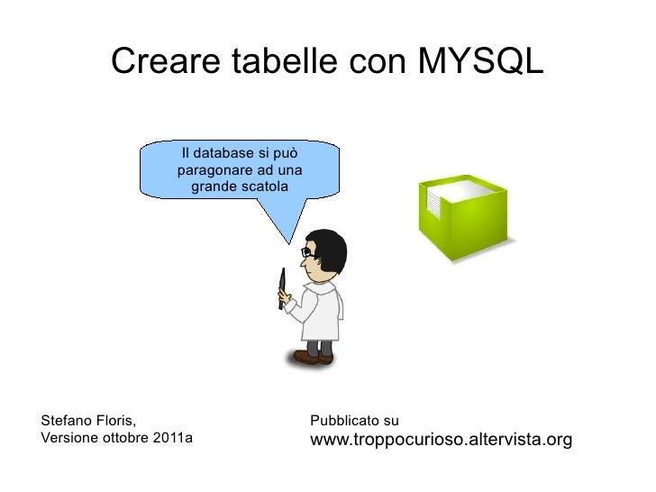 Creare tabelle con MYSQL                    Il database si può                   paragonare ad una                       g...