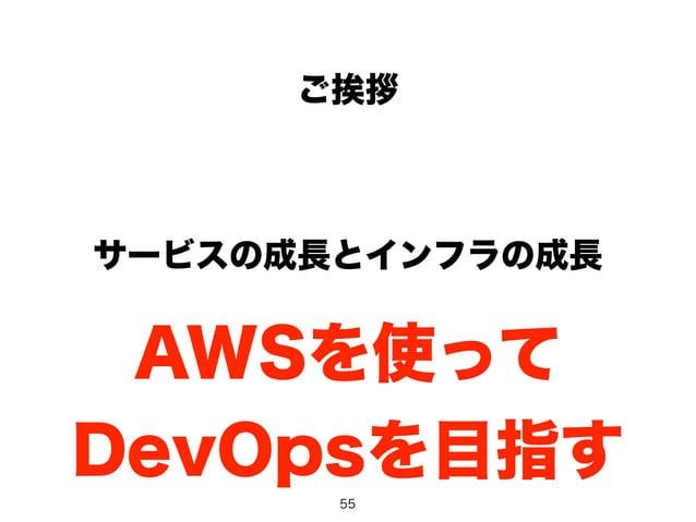 ご挨拶  サービスの成長とインフラの成長  AWSを使って  DevOpsを目指す  55