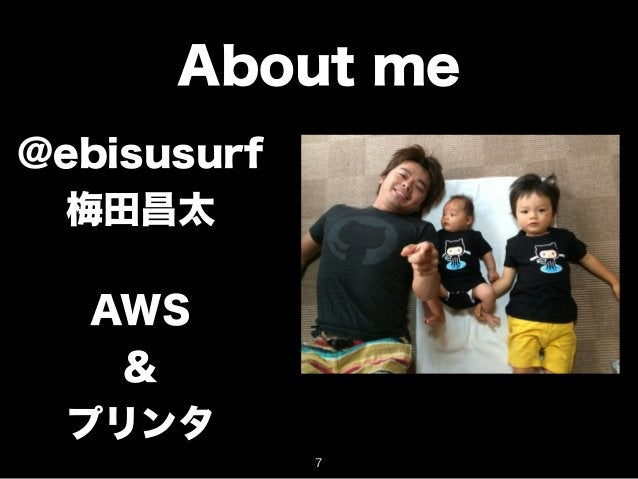 About me  @ebisusurf  梅田昌太  AWS  &  プリンタ  7