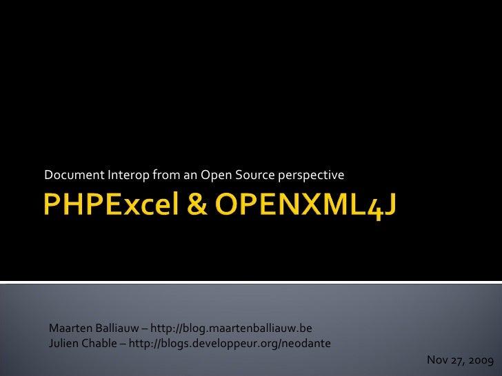 Document Interop from an Open Source perspective Maarten Balliauw – http://blog.maartenballiauw.be Julien Chable – http://...